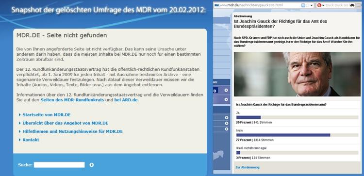 MDR Umfrage vom 20.2.2012