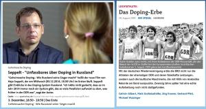 Doping Hetze gegen DDR und Russland im selben Stil